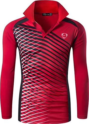 jeansian Hombre Sport Secado Rapido Mangas Largas Polo T-Shirts Transpirable Sudadera LA307 Red L
