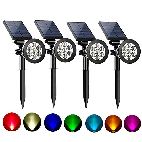 Sunklly Solar Spot Lights Outdoor 2-in-1 Colored Adjustable 7 LED Waterproof Security Tree Spotlights Lawn Step Walkway Garden Changing & Fixed Color (4 Pack)