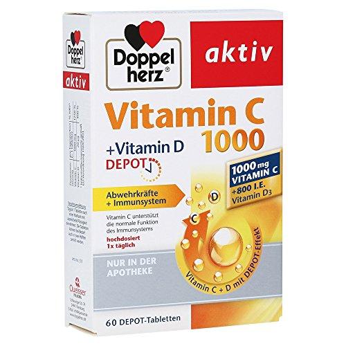 DOPPELHERZ aktiv Vitamin C 1000+Vitamin D Depot 60 St Tabletten