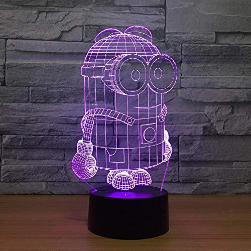 Luz De Ilusión 3D Luz De Noche Led Minion Minions Luces Intermitentes Coloridas Lámpara De Mesa Táctil Usb Decoración Del Hogar Juguetes De Regalo De Cumpleaños Para Niños