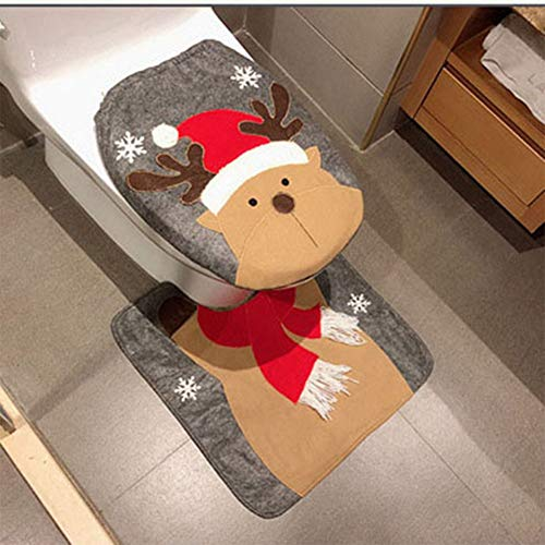 HESHIFENG. party & accessories Christmas Snowman Santa Deer Toilet Seat Cover and Rug Set Red Christmas Decorations Bathroom (Deer)