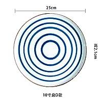 ShiSyan プレート 手描きの日本セラミックプレートフラットプレート中国と西洋ステーキ皿デザートプレート特別レストランの食器 電子レンジ・食洗機対応
