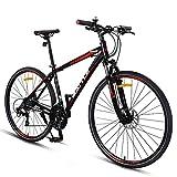 DJYD Adult Rennrad, 27 Geschwindigkeit Fahrrad mit Federgabel, Mechanische Scheibenbremsen, Quick Release Stadt-Pendler-Fahrrad, 700C, Grau FDWFN (Color : Black)
