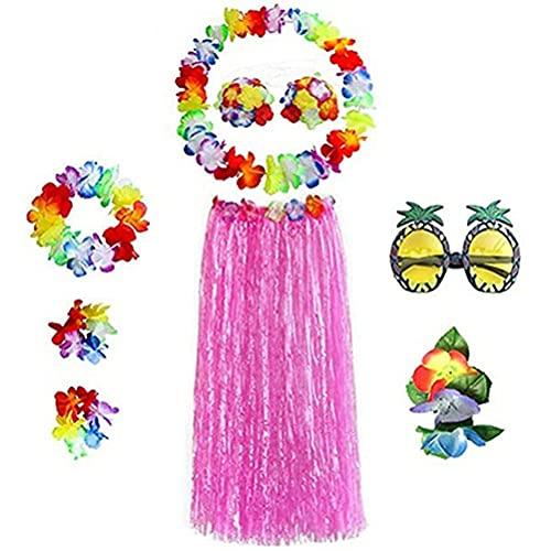 Hawaii - Juego de disfraces de fiesta temática, disfraz de Hula, falda de Hawaii, falda de rafia de fiesta de Hula, gafas de piña falda de hierba ropa de danza clásica azul 60 cm