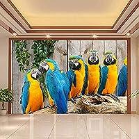 3D壁壁画壁紙動物世界オウム木目リビングルーム寝室の壁画写真壁紙壁壁画-350x250CM