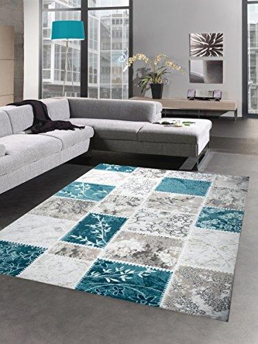 Carpetia Vintage Patchwork Teppich Wollteppich Wohnzimmerteppich grau Creme türkis Größe 80 x 300...