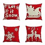 Unimall Fundas para Cojines Sofá Decorativas para Casa o Regalo para Navidad, Cuatro Piezas Protector para Cojines Silla Comedor
