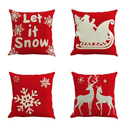 Unimall 4 Pezzi Natale Copricuscni Cuscino 45*45 per Sofa Divano