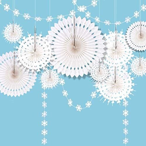 ZILONG 12 Pack Snowflake Party Decorations Hanging White Paper Fan Garlands Banner Christmas Shop Tissue Paper Hanging Fan Decorations for Birthday/Christmas/New Year/Wedding Party Supplies