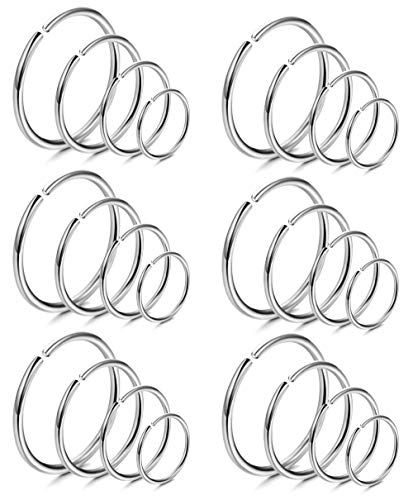 LOYALLOOK 18Pcs 20G 316L Stainless Steel Nose Ring Hoop Cartilage Hoop Septum Piercing 6-12mm (G:24PCS Silver Tone)