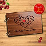 Sehaz Artworks Happy Everyday Wooden Scrapbook Photo Album for Memorable Gift on Boyfriend