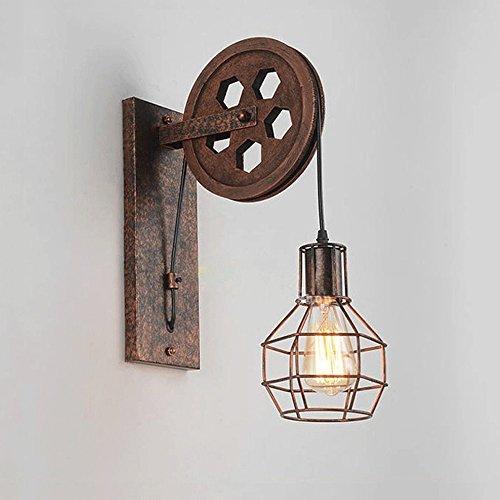iBalody Vintage Loft Industrial Pulley Bar Wandleuchte Lampe Retro Eisenwand Llight Antikes Hotel...