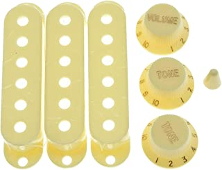 KAISH Aged White ST Strat Pickup Covers Knobs and 5 Way Switch Tip Cap