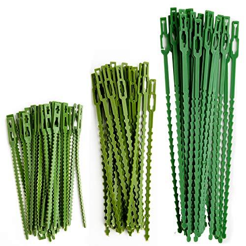 HX 110 Stück Verstellbarer Pflanzenbinder Kunststoff-Kabelbinder-Set Twist Ties für Grüne Pflanzenstütze Flexible Pflanzenbänder für Gartenbaum-Topfpflanzen