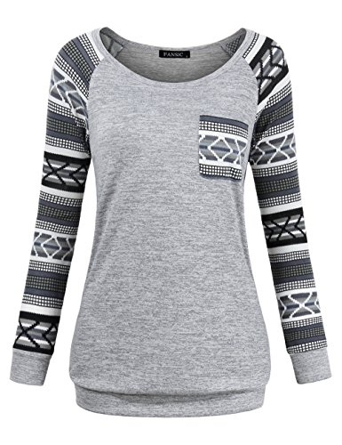 FANSIC Knit Sweater for Women, Jersey Shirt Swing Tunic Tops for Leggings Plus Size Lightweight Sweatshirts X-Large Gray