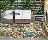 "Waverly Sun N Shade Multicolor Flamingo Indoor-Outdoor Rug 5'3""X7'5"""