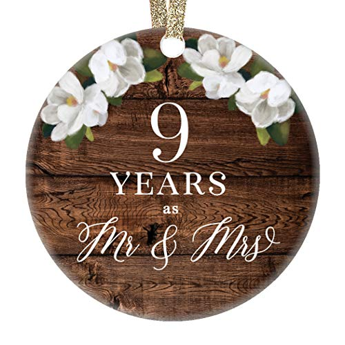 Christmas Tree Ornament 9th Ninth Wedding Anniversary Ceramic Collectible Husband Wife Couple Married Nine Years Rustic Floral Design 3