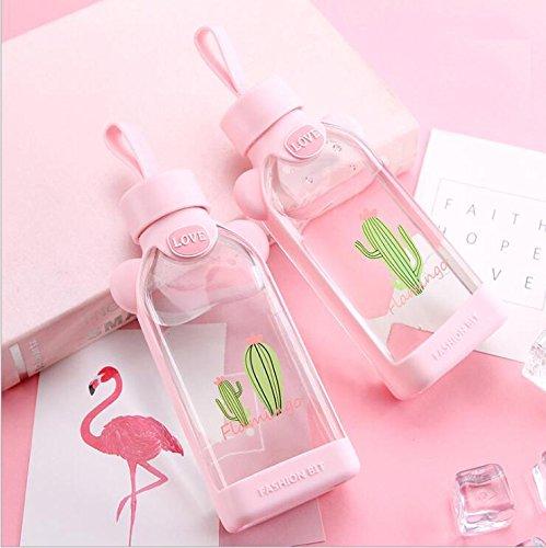 Botella De Cristal Cristal - Cantimplora Con Funda Planas Botella De Agua Para Niños Student Escolar Niña Color Rosa Cristal Botella BPA Libre Bonito Diseño Flamencos Con Carcasa Para Oficina Aula 350