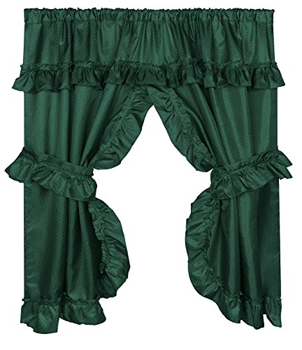 Home Bargains Plus Diamond Dot Ruffled Fabric Bathroom Window Curtain with Attached Valance and Tiebacks - Evergreen