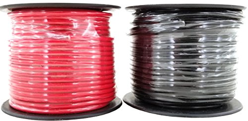 14 Gauge Copper Clad Aluminum CCA Flexible Low Voltage Primary Wire in 100 ft Roll Red Black Combo (200 Feet Total) for Car Audio Video 12 Volt Trailer Harness Wiring (Also Available in 16 Guage)