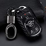 Royalfox(TM) Black Silicone Carbon Fiber Smart keyless Remote Key Fob case Cover for Buick Verano Regal Lacross Encore Envision Enclave GL8 2015 2016 2017 2018 2019 Keychain (for Buick Smart Key fob)
