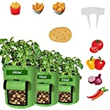 Potato Grow Bags, 3 Pack Heavy-Duty Plant Grow Bag with Dual Handles and Velcro Window Ideal, Garden Vegetable Planter for Tomato, Carrot, Onion, Fruits, and Vegetables (5/7/10Gal)