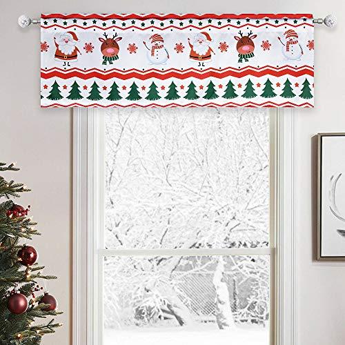 Christmas Valance for Windows, Snowman Elk Elegant Decor, Polyester White Background for Bedroom Living Room,52X18 Inch Each Panel
