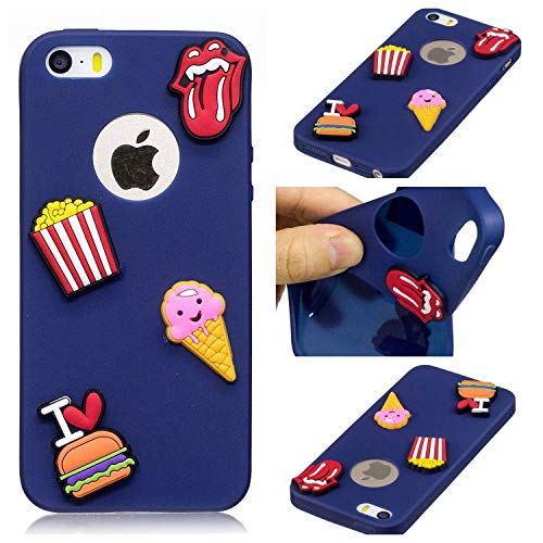 Huiran Phone Case for iPhone 5/5s/SE Protective Cover Ultra Slim Thin Silicone Rubber TPU Gel Bumper Shock Proof with 3D Pattern - French Fries and Burgers