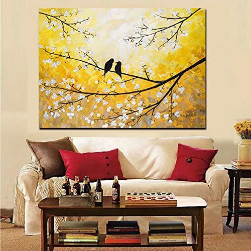 ZWBBO Canvas schilderij Decoratieve schilderijen Wall Art Canvas HD Print Vogel Boom Bloem Goud Landschap Olieverfschilderij Poster Bank Moderne Muurfoto voor Woonkamer