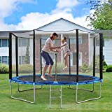 12 FT Trampoline with Safety Enclosure & Ladder for Kids Adults to Exercise Outdoor Indoor Backyard Recreational Large Rebounder - 400 LBS Capacity