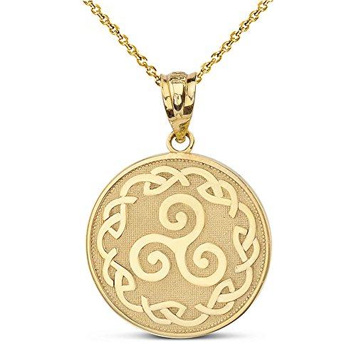 Solid 10k Yellow Gold Triskele Triskelion Triple Spiral Celtic Knot Disc Pendant Necklace, 16'