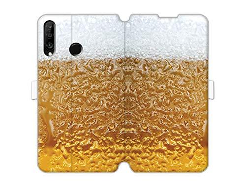 Hülle für Huawei P30 Lite - Hülle Wallet Book Fantastic - Bier mit Schaum Handyhülle Schutzhülle Etui Hülle Cover Tasche für Handy