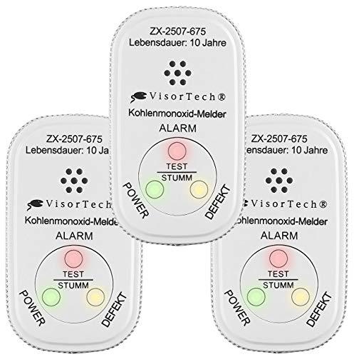 VisorTech Kohlenmonoxidwächter: 3er-Set Mini-Kohlenmonoxid-Melder, 10-Jahres-Batterie, DIN EN 50291-1 (Mobiler Kohlenmonoxidmelder)