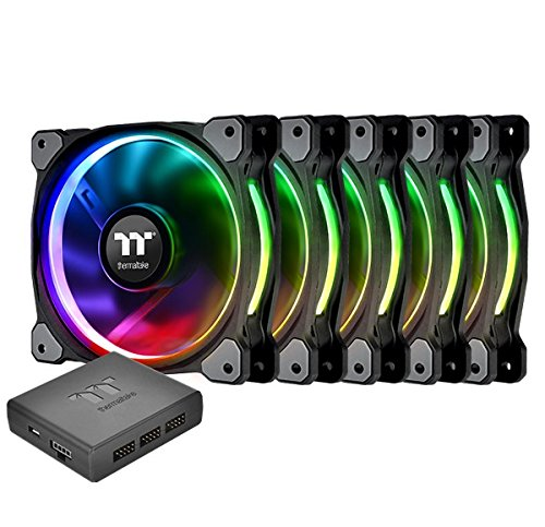 Thermaltake Riing Plus 14 RGB TT Premium Edition 140mm Software Enabled Circular 12 Controllable LED Ring Case/Radiator Fan - Five Pack - CL-F057-PL14SW-A