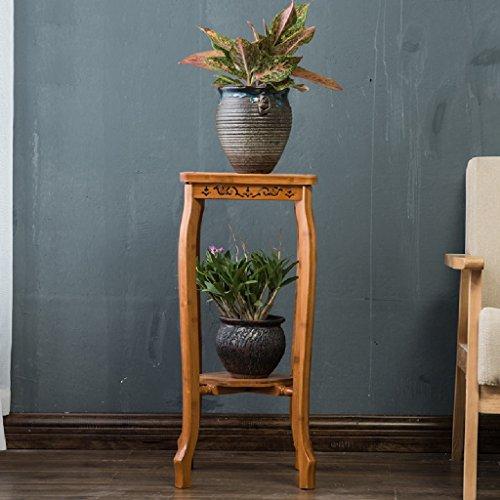 Cadre de fleur de salon Cadre de pot de fleurs Moderne Ensemble de 2 couches de plancher Support d'usine d'orchidées bleues L * W * H: 28 * 28 * 66CM