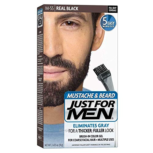 Just for men Moustache & Beard Real Black Dye , Eliminates Grey for a Thicker & Fuller Look – M55