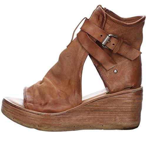 A.S.98 Sandalias de mujer Noa de cuña de cuero liso / genar, color Marrón, talla 40 EU