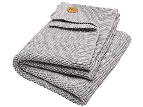 Bio Babydecke Strick Qualität 100% Bio-Baumwolle (kbA) GOTS zertifiziert, Hellgrau, 80 x 95 cm