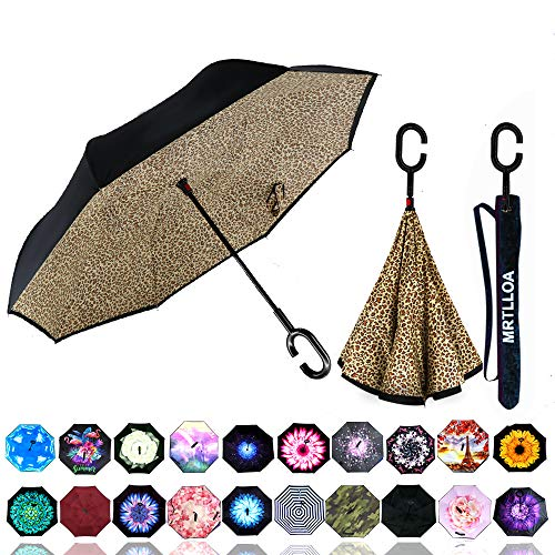 MRTLLOA Double Layer Inverted Umbrella with C-Shaped Handle, Anti-UV Waterproof Windproof Straight Umbrella for Car Rain Outdoor Use (N-Leopard)