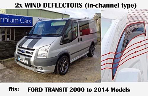 OEMM 2er-Set Windabweiser im Kanal-Typ, kompatibel mit Ford Transit Tourneo 3. Generation Paneel Van Minibus 2000 bis 2014 Modelle Seitenblenden Fensterabweiser