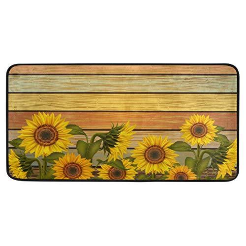 Mnsruu Küchenmatte, gelbe Sonnenblumen Küchenteppiche wasserdicht rutschfeste Fußmatte Bad Läufer Bereich Teppich Teppich, (90x51cm)