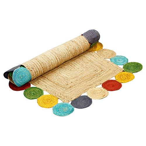 aakriti Galerie Fair Trade Natur Farbe rechteckig mit Rund Bordüre handgefertigt 100% Jute Teppich Chindi Teppich Multi Colored indischen Matte...