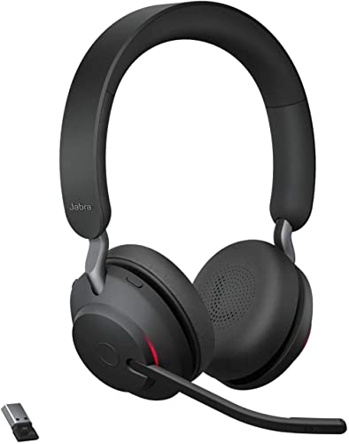 Jabra Evolve2 65 Wireless Headset – Noise Cancelling UC Certified Stereo Headphones with Long-Lasting Battery – USB-A...