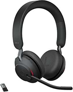 Jabra Evolve2 65 Wireless Headset – Noise Cancelling UC Certified Stereo Headphones with Long-Lasting Battery – USB-A Blue...