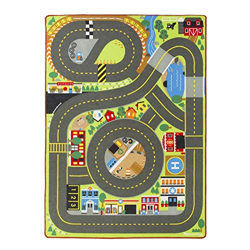 Melissa & Doug Jumbo Roadway Activity Rug (4 Wooden Traffic Signs, Oversized Multi-Roadway Activity Rug, 79'L x 60'W, Great Gift for Girls and Boys - Best for 3, 4, 5 Year Olds and Up)