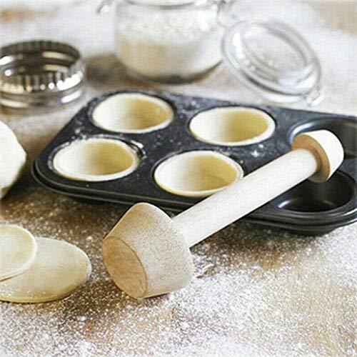 Moules à tarte, Outil de fabrication de rainures pour tarte Moule à double tête, DIY Oeuf-Tarte-Tamper Double Face En Bois Gâteau Pusher Gâteau Cuisson Façonner