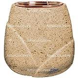 AmazinGrave - Vasche portafiori in Marmo per lapidi e tombe - Vasca portafiori Liberti 19cm - con Attacco a Parete 3443-5372