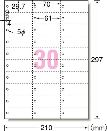 エーワンマルチカード30面単語カードサイズ穴あき5枚51163