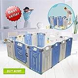 Box per bambini Centro di attività per bambini Parco giochi Sicurezza Cortile interno per interni Nuova penna (pieghevole 12 + 2 pannelli 155×155×65CM) (blu)