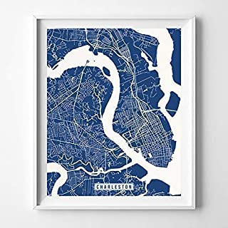 Charleston South Carolina City Street Map Wall Art Home Decor Poster Urban City Hometown Road Print - 70 Color Choices - Unframed